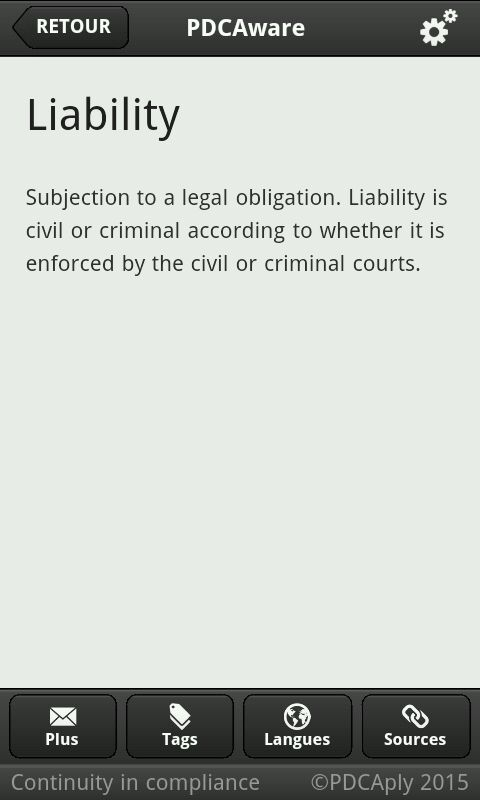 Definition of Liability in PDCAware